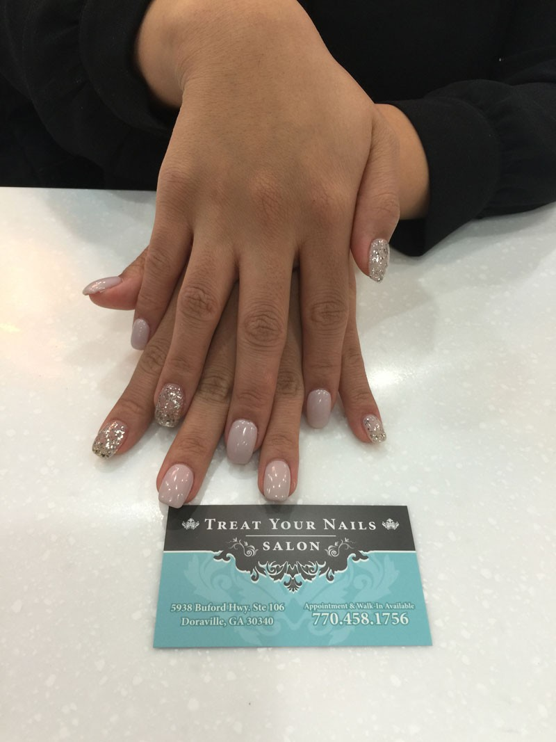 Gel Manicure with Accent Nail Design